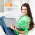 mutlu · kadın · dizüstü · bilgisayar · resim · Internet · ev - stok fotoğraf © dolgachov