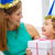 moeder · dochter · Blauw · hoeden · gunst - stockfoto © dolgachov