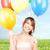szczęśliwy · balony · biały · kobieta · strony - zdjęcia stock © dolgachov
