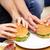 adam · yeme · patates · kızartması · Burger · genç · kanepe - stok fotoğraf © dolgachov