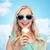 feliz · mulher · jovem · óculos · de · sol · alimentação · sorvete · verão - foto stock © dolgachov