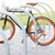 close up of bicycle locked at street parking stock photo © dolgachov