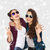 smiling teenage girls in sunglasses showing peace stock photo © dolgachov