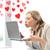 nő · küldés · laptop · számítógép · virtuális · kapcsolatok · online - stock fotó © dolgachov
