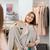 gelukkig · vrouw · jas · kleding · store · spiegel - stockfoto © dolgachov