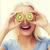 feliz · mulher · kiwi · verde - foto stock © dolgachov