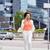 jonge · vrouw · mobiele · telefoon · lopen · business · gebouw · mobiele · telefoon - stockfoto © dolgachov