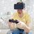 man · virtueel · realiteit · hoofdtelefoon · spelen · video · game - stockfoto © dolgachov