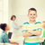 wenig · cute · Junge · Lehrer · Klassenzimmer · lächelnd - stock foto © dolgachov