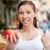 笑顔の女性 · トマト · 孤立した · 白 · 食品 - ストックフォト © dolgachov