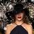 beautiful woman in black hat over night firework stock photo © dolgachov
