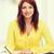 gyönyörű · nő · ceruza · táblagép · digitális - stock fotó © dolgachov