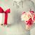 férfi · tart · virágcsokor · virágok · ajándék · doboz · közelkép - stock fotó © dolgachov