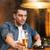 adam · içme · bira · sigara · içme · sigara · bar - stok fotoğraf © dolgachov