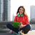 glimlachende · vrouw · buitenshuis · fitness · park · technologie - stockfoto © dolgachov
