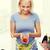 mosolygó · nő · főzés · zöldség · saláta · otthon · egészséges · étkezés - stock fotó © dolgachov