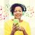 heureux · africaine · femme · smartphone · casque · personnes - photo stock © dolgachov