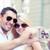 couple taking photo in cafe stock fotó © dolgachov
