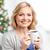 mutlu · kadın · kahve · Noel · ışıklar · kış - stok fotoğraf © dolgachov