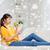 mutlu · Asya · kadın · elma · ev - stok fotoğraf © dolgachov