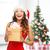 азиатских · улыбающаяся · женщина · темно-бордовый · платье · настоящее · окна - Сток-фото © dolgachov