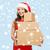 donna · sorridente · helper · Hat · scatola · regalo · Natale - foto d'archivio © dolgachov