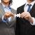 twee · zakenlieden · puzzelstukjes · kantoor · teamwerk - stockfoto © dolgachov