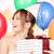 parti · kız · balonlar · hediye · kutusu · mutlu - stok fotoğraf © dolgachov