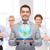 boldog · üzletember · öltöny · tart · táblagép · üzletemberek - stock fotó © dolgachov
