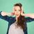 happy pretty teenage student girl holding to head stock photo © dolgachov