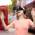 mutlu · kadın · sanal · gerçeklik · kulaklık · gözlük - stok fotoğraf © dolgachov
