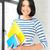 fille · heureuse · livres · portable · école · éducation · personnes - photo stock © dolgachov