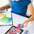 mujer · de · trabajo · color · muestra · aplicación · diseno · interior - foto stock © dolgachov