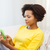 heureux · africaine · femme · smartphone · maison · personnes - photo stock © dolgachov