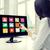 mujer · de · negocios · tocar · aplicación · pantalla · táctil · menú - foto stock © dolgachov