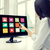 zakenvrouw · aanraken · interface · scherm · witte - stockfoto © dolgachov