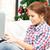 genç · kız · dizüstü · bilgisayar · defter · eğitim · teknoloji · ev - stok fotoğraf © dolgachov