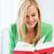 uśmiechnięty · młoda · kobieta · czytania · książki · szkoły · zdjęcie - zdjęcia stock © dolgachov
