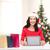 gülümseyen · kadın · yardımcı · şapka · Noel - stok fotoğraf © dolgachov