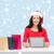 mosolygó · nő · mikulás · kalap · szatyrok · táblagép · karácsony - stock fotó © dolgachov