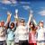 группа · подростков · , · держась · за · руки · вверх · лет · праздников - Сток-фото © dolgachov