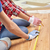 close up of couple with ruler measuring flooring stock photo © dolgachov