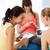 happy pregnant women with gadgets in gym stock photo © dolgachov