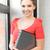 笑みを浮かべて · 十代の少女 · ラップトップコンピュータ · ノートブック · 教育 · 技術 - ストックフォト © dolgachov
