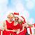 sorridente · família · leitura · cartão · postal · natal - foto stock © dolgachov