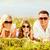 parents · fille · herbe · verte · fond · salade · légumes - photo stock © dolgachov