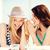 csinos · fiatal · lányok · beszél · iszik · buli - stock fotó © dolgachov