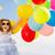 boldog · ugrik · lány · színes · léggömbök · nyár - stock fotó © dolgachov