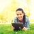 笑みを浮かべて · 若い女の子 · 草 · ライフスタイル · 夏休み - ストックフォト © dolgachov