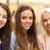három · gyönyörű · lányok · iszik · kávé · kávézó - stock fotó © dolgachov